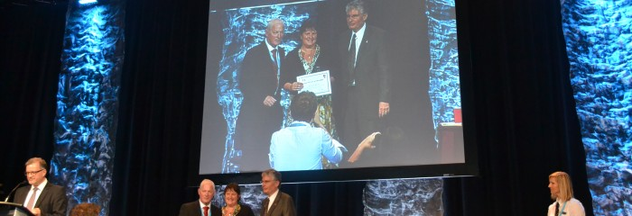 Jane receiving award in Montreal